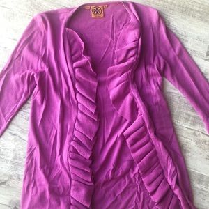 Tory Burch Ruffle Trim Cardigan 100% Merino Wool.
